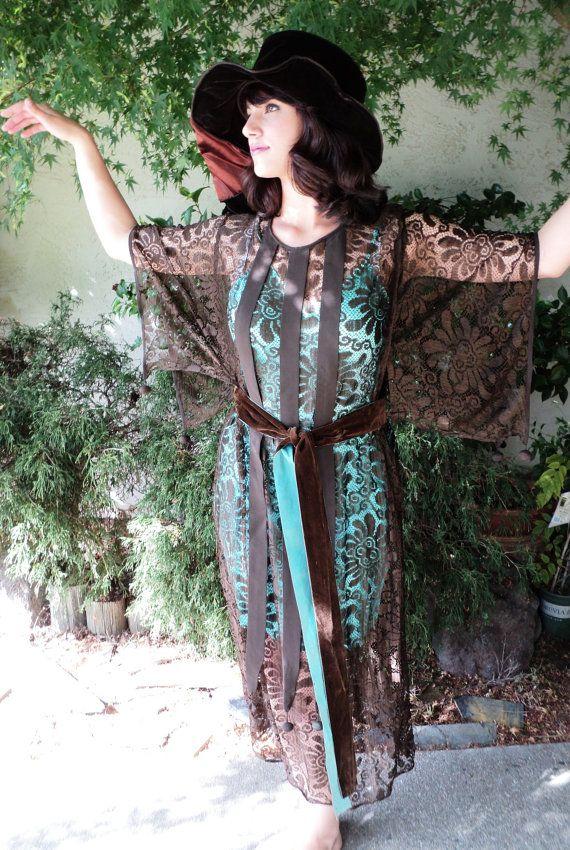ПРОДАЖА 1920-х годов платье Пуаре стиль шелковые кружева с underslip Fabulous цвета аква и шоколад бархат