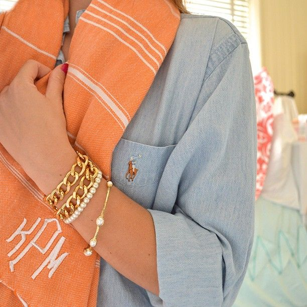 Ralf Lauren ~ Pearls ~ Monogrammed Scarf by lonestarstateofsouthern
