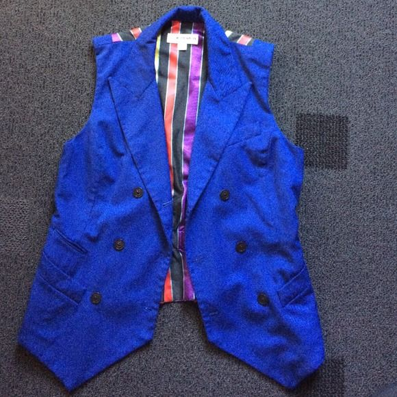 Blue Vest Black Buttons, all pockets are real. Statement piece Jackets & Coats Vests
