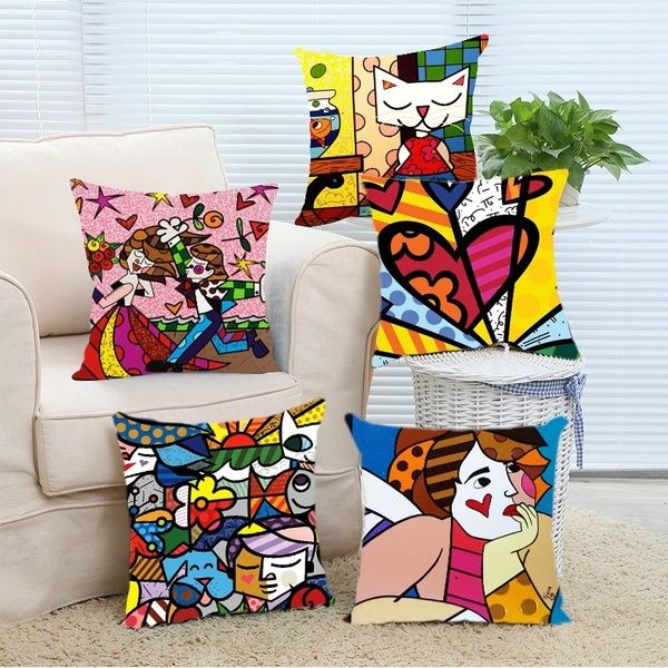 Romero Britto Style Art Pillow Case