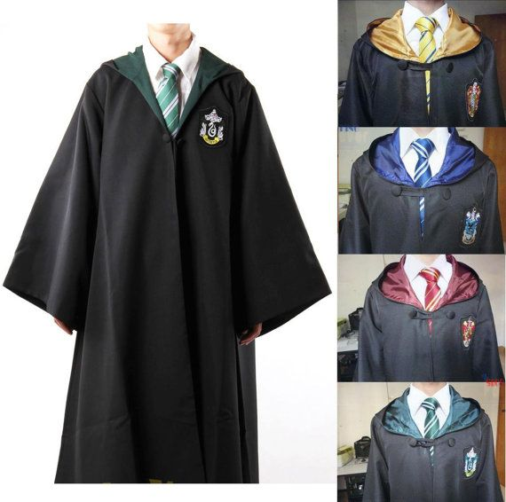 Gryffindor / Slytherin / Hufflepuff / Ravenclaw Robe Harry Potter Adult and Kids Robe Cloak