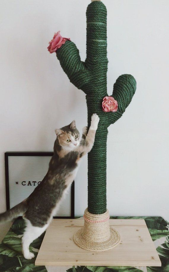 Cactus For Cats Catcus Scratching Post Cat Tree Boho Cat Tower Diy Cat Tower Cat Tree Designs Diy Stuffed Animals