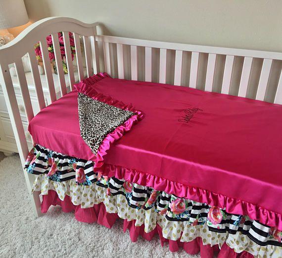 Pink Toddler Bedding, Gold Dot Toddler Bedding Sets, Watercolor Floral Toddler Bedding, Crib Bedding Set for Toddlers, Girl Toddler Bedding