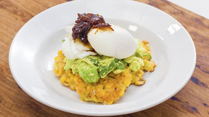 Corn Fritters with Avocado Salsa and Poached Eggs