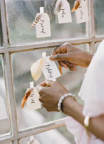 feather escort cards | Ali Harper #wedding