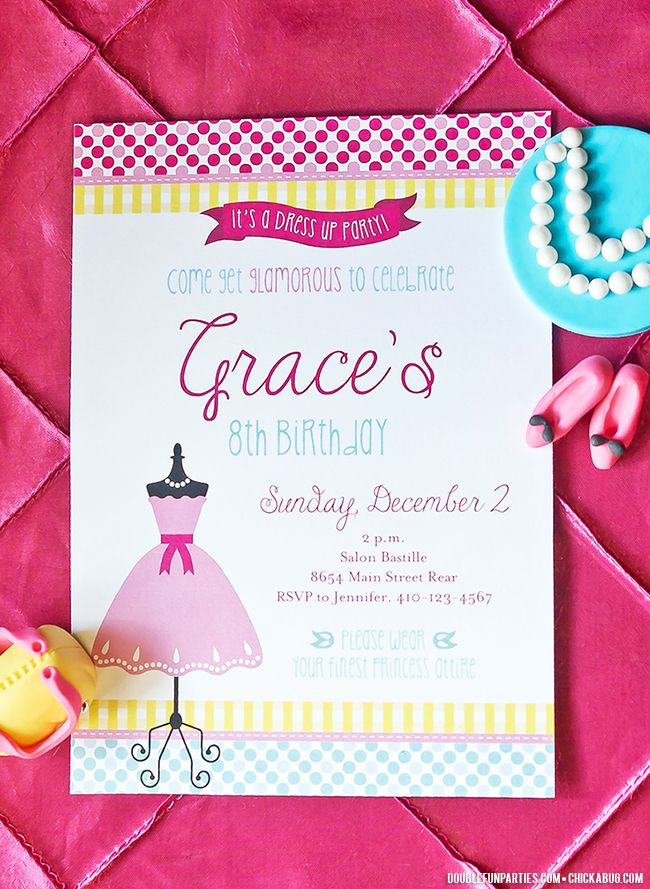 Dress-Up theme party invitation from Chickabug