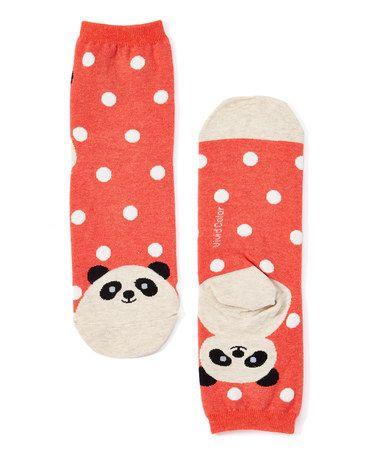 Love this Rust & White Panda Socks on #zulily! #zulilyfinds