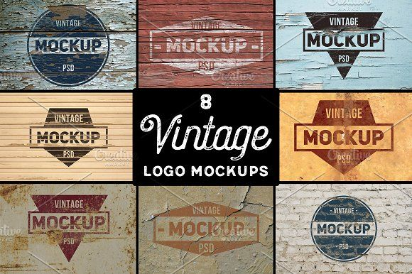 8 Vintage Logo Mockups by BART.Co Design on @creativemarket
