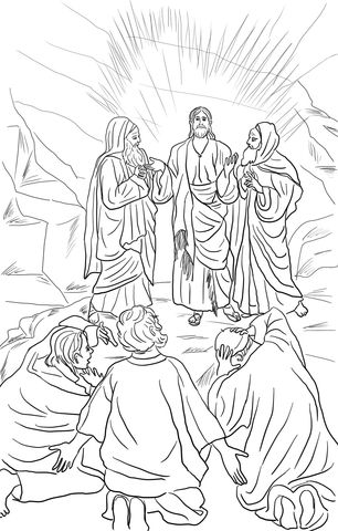 Jesus Transfiguration coloring page from Jesus Mission Period category. Select from 24652 printable crafts of cartoons, nature, animals, Bible and many more.