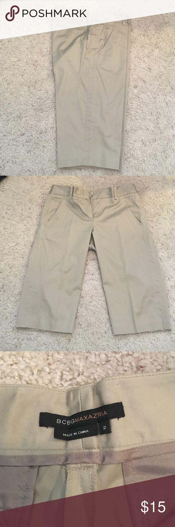 Cropped BCBG slacks Mud knee cropped khaki slacks by BCBG. Great for the office BCBGMaxAzria Pants Ankle & Cropped