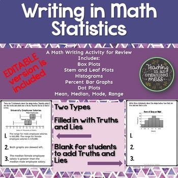 A unique way to get students writing in math. There are 28 pages of graphics--box plots, histograms, dot plots, stem and leaf plots, and percents bar graphs, and data sets. An EDITABLE VERSION is included. You will need to have Microsoft Powerpoint in order