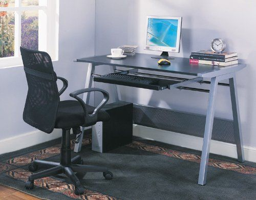 "Kings Brand Furniture Home Office Computer Workstation Desk / Table. Kings Brand Furniture Home Office Computer Workstation Desk / Table. Unique movable keyboard design, moves from side to side. Black table top, sturdy metal frame with silver finish. Dimensions: 47.25""X27.5""X30.5""H. Simple assembly required."