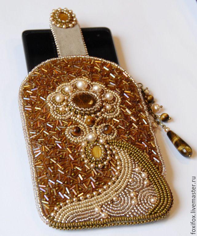 Купить Чехол для телефона с тигровиком - разноцветный, чехол для телефона, кабошоны, бисер, бусины, фурнитура металлическая