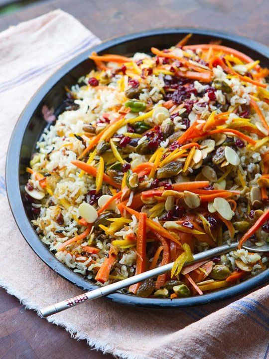Recipe: Persian Jeweled Rice (I saw some people saying they will sub the currants with raisins. Do not do this. Currants are sour, you're better off replacing them with craisins)