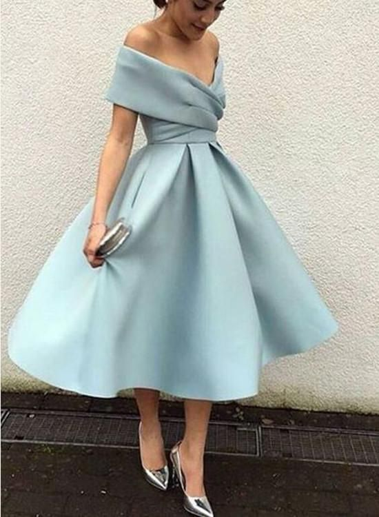 Off Shoulder Light Blue Tea Length Bridesmaid Dresses Party Dres Bemybridesmaid