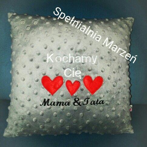 Podusia z haftem www.spelnialniamarzen.com.pl #poduszka #kochamycię #serce #pillow #weloveyou #heart #spelnialniamarzen #grey #red #minky