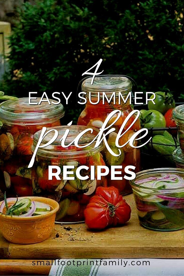 Here are four easy pickle recipes that will deliciously preserve some of your summer produce. If made with vinegar, they can be ready to eat right after making them. And if you lacto-ferment them traditionally with brine, they will be ready in a week!