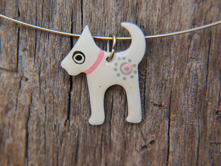 Scottie Pendant Dog Lovers Jewelry Pink Collar White Enamel Handpainted Design Artisan Flower Stainless Steel Playful Style Dog Pendant by CinkyLinky on Etsy
