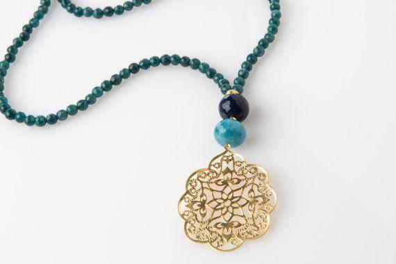 Long Petrol Jade Necklace. Gold Filigree by lizaslittlethings