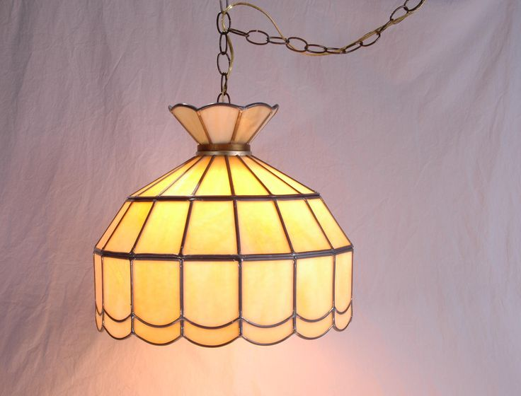 Vintage Tiffany Style Chandelier- Slag Stained Glass - Lead Glass - Ceiling Fixture - Tiffany Chandelier by SeRepete on Etsy