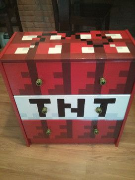 Hand-Painted Minecraft 3-Drawer Chest by Artsy Fartsi - eclectic - Kids Dressers - Etsy