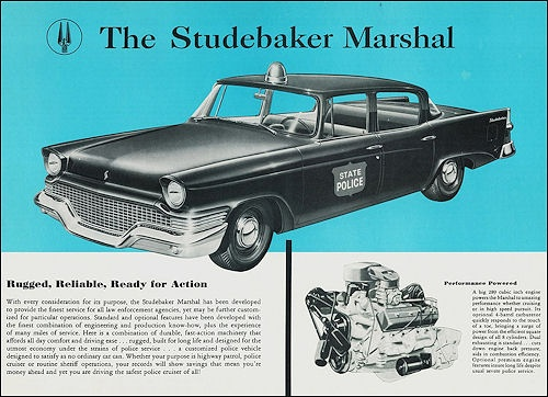 1958 Studebaker Marshal. Vintage advertisement for police commercial vehicle.