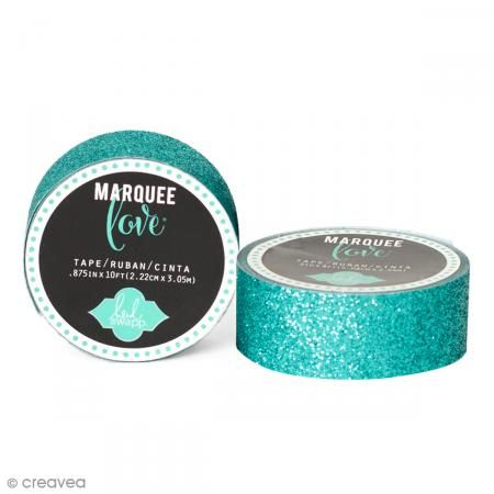 Masking tape pailleté Marquee Love - Bleu canard - 2,22 cm x 3,05 m http://www.creavea.com/masking-tape-paillete-marquee-love-bleu-canard-222-cm-x-305-m_boutique-acheter-loisirs-creatifs_64893.html