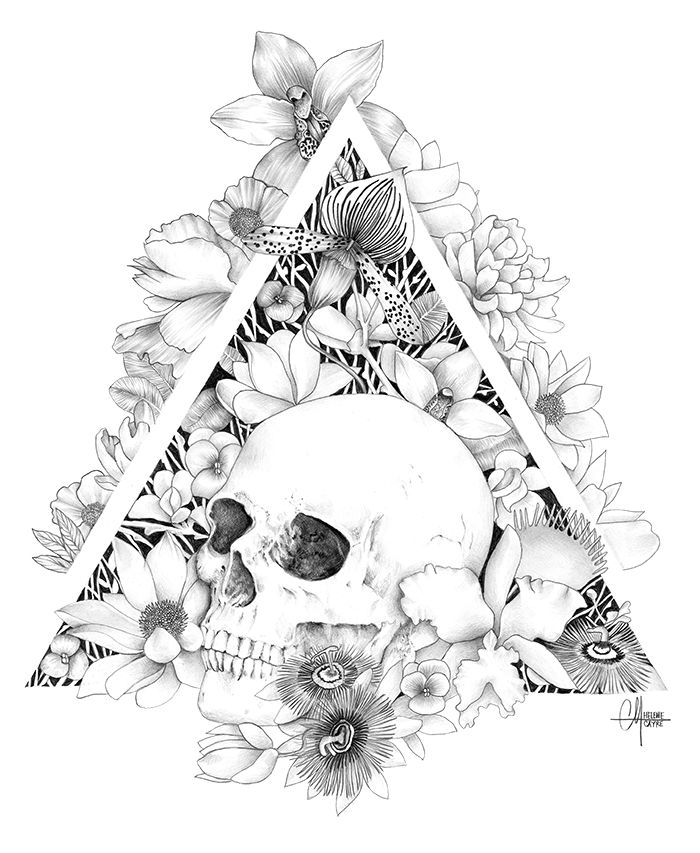 always liked the idea of playing with shapes (esp triangles) and using it as a frame, or flora pouring out of them. im not actually trying to get skulls tattooed on me but they are everywhere in this board...    Memento Mori   Helene Cayre