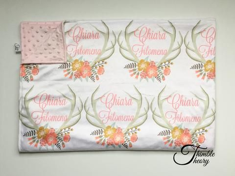 """""""Floral Antler""""- Personalized Double Sided Minky Blanket"""