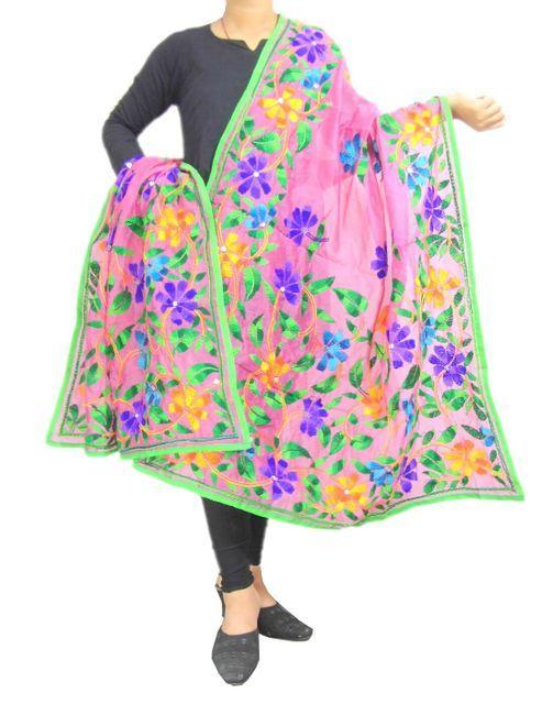 Chanderi Hand Embroidered Dupatta-Light Pink