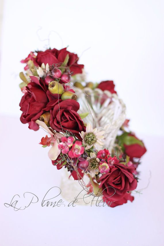 Rosehip Flower crown rich deep reds roses by LaPlumeDeFleur