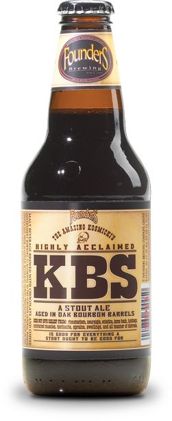 KBS: What we've got here is an imperial stout brewed with a massive amount of coffee and chocolates, then cave-aged in oak bourbon barrels for an entire year to make sure wonderful bourbon undertones come through in the finish. Makes your taste buds squeal with delight.  11.2% ABV, 70 IBUs