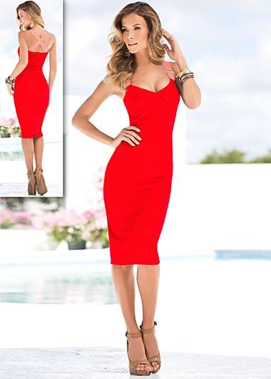 Red only venus fashion dresses in trends