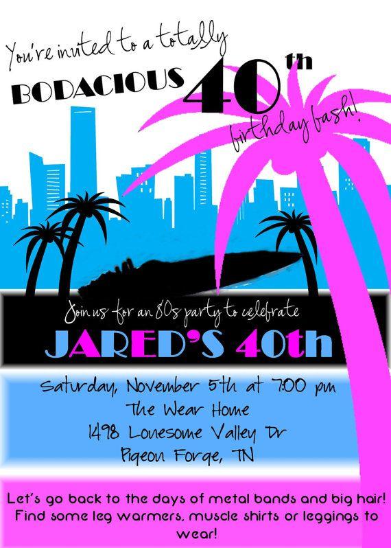 80s Birthday Miami Vice Invitation DIY by SimplySprinkled on Etsy, $13.00