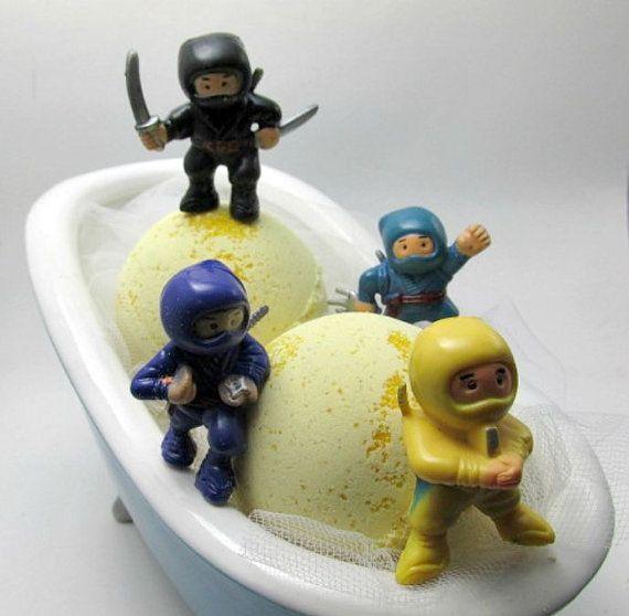 Bath Bomb - Ninja surprise toy- Organic soy milk -5oz bomb