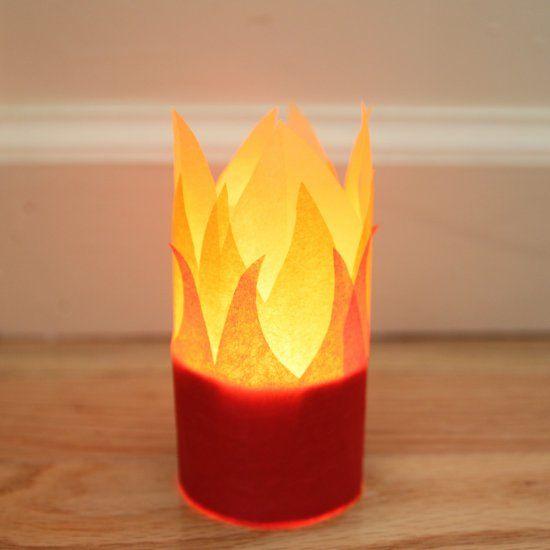 Kerzenhalter Feuer - elektr. Kerze klorolle und gelbes transparentpapier