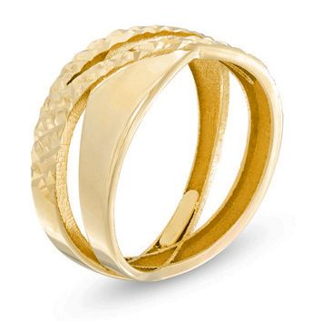 <3 the different textures in this Hammered Criss-Cross Ring in 10K Gold. Made in Italy. Available online now from #PeoplesJewellers. #FingerFrills #MayIsGoldMonth #Gold #Rings