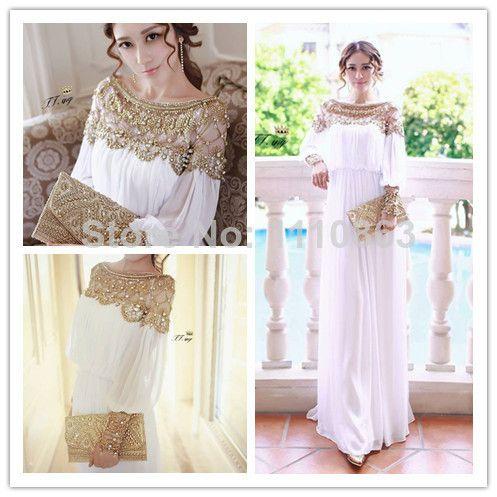 Heavy Beaded Chiffon Fancy Dubai Women Kaftan Abaya Long Evening Dress 2014 Prom Dress vestidos de fiesta 2014 Free Shipping