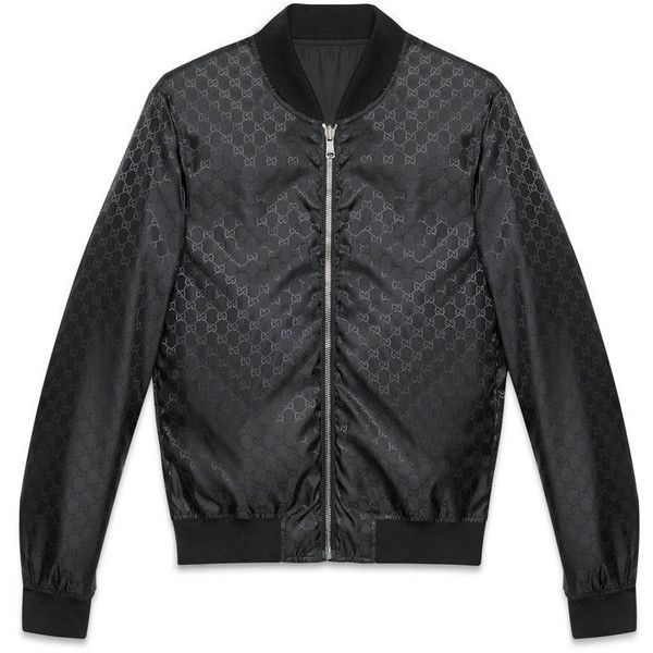Gucci Reversible Gg Jacquard Nylon Bomber Jacket ($1,225) ❤ liked on Polyvore featuring men's fashion, men's clothing, men's outerwear, men's jackets, men, outerwear, ready to wear, mens blouson jacket, mens light weight jackets and mens outerwear