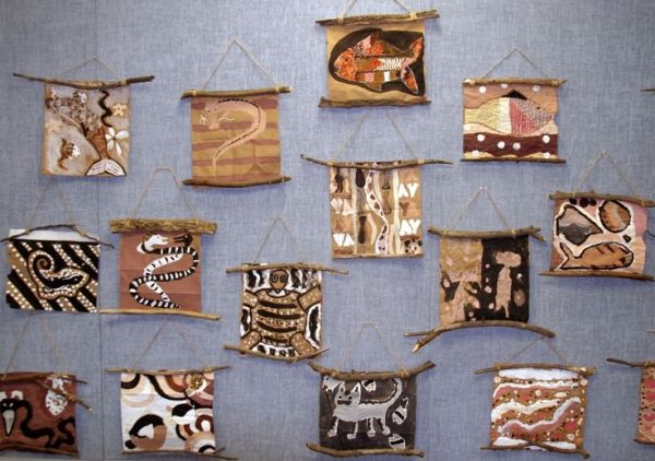 Aboriginal Australian bark painting....love the way these are hung! by celia