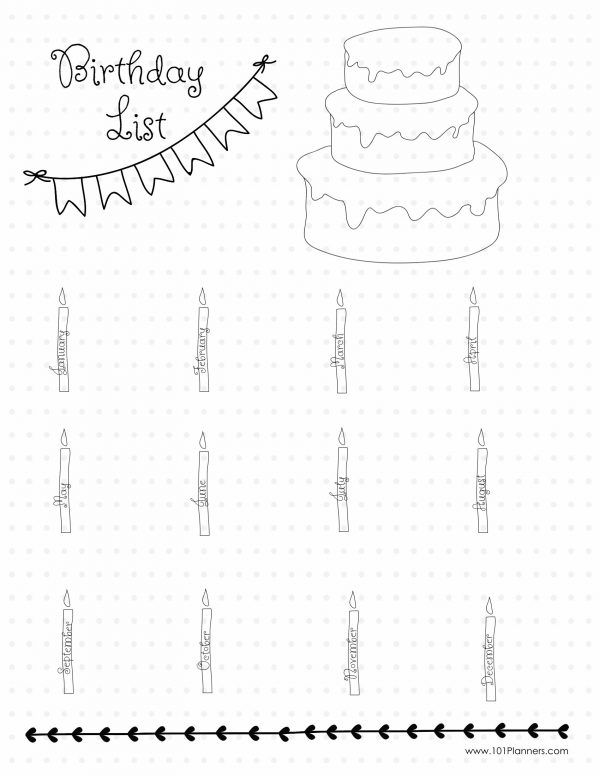 Birthday list - create this page or unlimited others with the free Bullet Journal app.