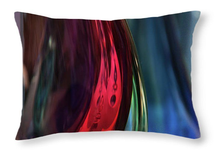 Jenny Rainbow Fine Art Photography Throw Pillow featuring the photograph Burgundy Emerald Glass Abstract by Jenny Rainbow