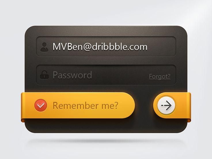 User Credential Form Black Plastic BG / Yellow UI Item Log In http://www.techirsh.com