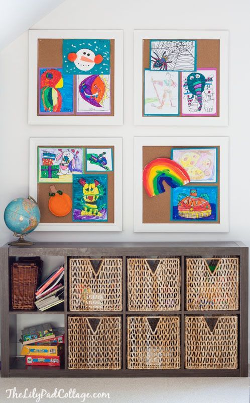 Colorful Playroom Decor- love the idea of giant cork board so display kids art work. | The Lilypad Cottage