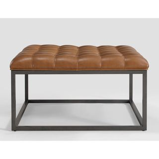 healy saddle brown leather tufted ottoman saddle brown foam - Tufted Ottoman Coffee Table