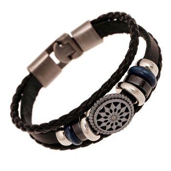 20 см мужчины ювелирные изделия пират стиль бронза натуральная кожа якорь браслеты манжеты плетёный накидка браслет и браслеты подарки