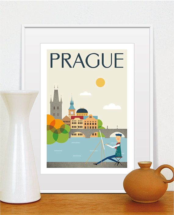 Prague City Print, City Retro Poster, Mid Century Modern Art, Prague Home Decor, Wall Art, Size A3 or 11x14