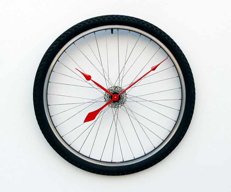 Recycled Bike Wheel and tire clock by pixelthis on Etsy