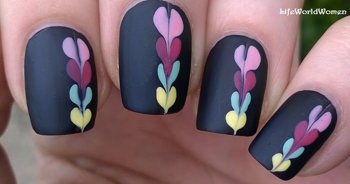 Life World Women: Matte Black Nail Art Idea With Colorful Heart-Like Pattern / Needle & Dotting Tool Nail Design