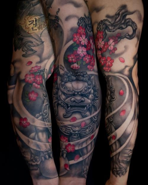 That's one sick sleeve by Jin O , tattooing at @k_tattoo . Australian Tattoo Scene. #tattoo #tattoos #ink
